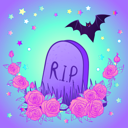 Tombstone, bat, roses. Glamour Halloween background in neon pastel colors. Cute gothic style. Colorful rainbow concept.