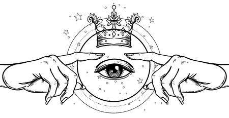 Female hand pointing on something with forefinger. with divine kings crown. Hope faith and help, assistance and support symbol. Black and white vector illustration in vintage style isolated on white. Illustration
