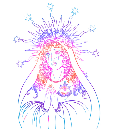 Lady of Sorrow. Devotion to the Immaculate Heart of Blessed Virgin Mary, Queen of Heaven. Vector illustration isolated on white. Coloring book for adults.