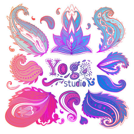 Yoga, meditation floral symbols collection. Ornamental Boho Chic Ethnic Style Elements. Vector illustration. Tattoo template. Trendy hand drawn tribal symbol collection. Hippie design bright paisley.