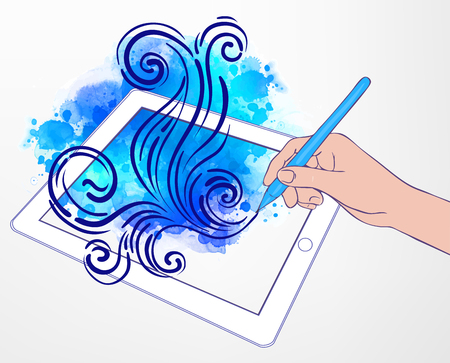 touch sensitive: Digital art creating: technology concept. Portable tablet and human hand drawing intricate doodles sketchy composition with pen, vector illustration with watercolor isolated on white.