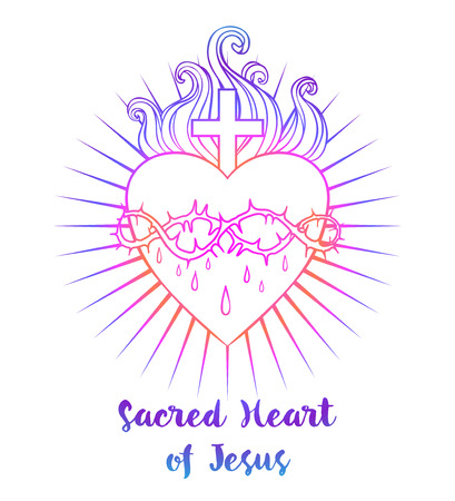 Sacred Heart of Jesus. Vector illustration in vivid colors isolated on white. Trendy Vintage style element. Religion, purity, sacrifice, spirituality, occultism, alchemy, magic, love. Tattoo design. Иллюстрация