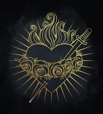 天の女王、聖母マリアの無原罪の心。ゴールドとブラックのベクトル図です。ヴィンテージ要素。宗教、純度、犠牲、精神世界、神秘、錬金術。タ