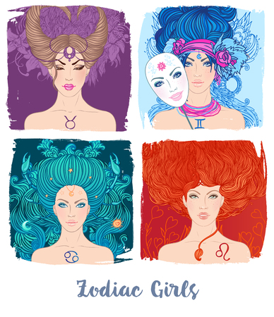 occultism:  Zodiac girls set: vector illustration of astrological signs as a beautiful woman. Future telling, horoscope, alchemy, spirituality, occultism, fashion.  Illustration