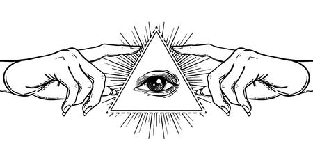 La main féminine pointe sur quelque chose avec l'index. Nouvel ordre mondial. L'alchimie à la main, la religion, la spiritualité, l'occultisme.