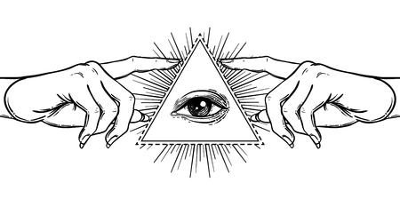 Female hand pointing on something with forefinger. New World Order. Hand-drawn alchemy, religion, spirituality, occultism.