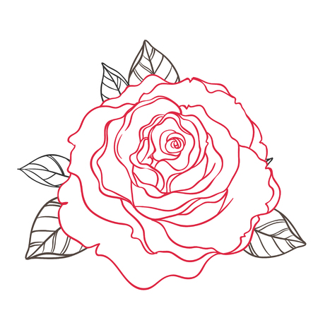 Black and white tattoo style roses with leaves isolated on white background. Vector illustrations. Romantic wedding elements.