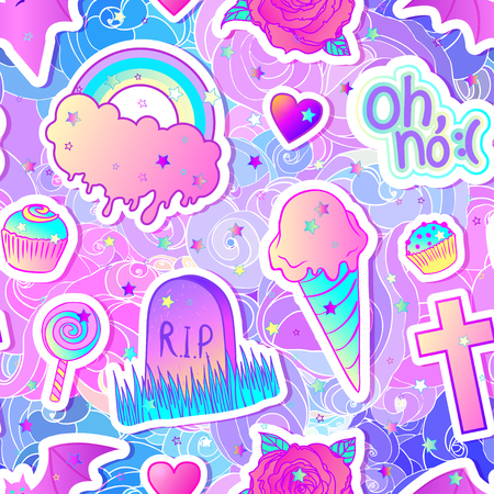 gothic style: Colorful seamless pattern: candies, sweets, rainbow, icecream, tombstone, cross, lollipop, cupcake, rose, bat. Vector illustration. Stickers, pins, patches. Halloween pastel colors. Cute gothic style