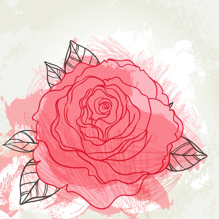 hand outline: Beautiful roses bouquet drawing on beige grunge background. Hand drawn vector highly detailed line art illustration over watercolor painted texture. Wedding, beauty, tattoo outline design element. Illustration