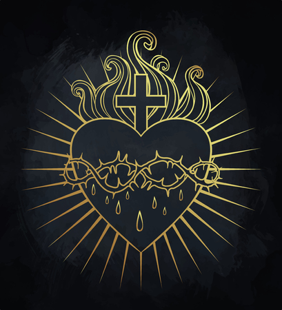 Sacro Cuore di Gesù. Illustrazione vettoriale in colori d'oro isolato su nero. Elemento di stile d'epoca d'epoca. Religione, purezza, sacrificio, spiritualità, occultismo, alchimia, magia, amore. Disegno del tatuaggio.
