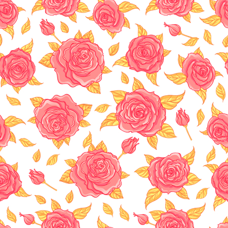 feminine background: Red Roses over white background. Seamless elegant vintage floral pattern. Design for fabric, textile, wrapping paper, wallpaper, wedding concept.