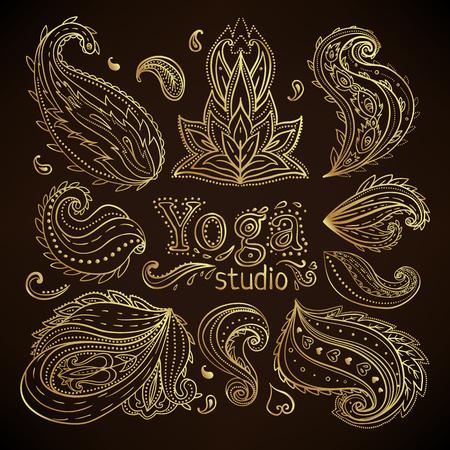 Yoga, meditation vector illustration set. Hindu paisley motifs. Tattoo, spirituality, prints, ornamental floral elements with henna tattoo.