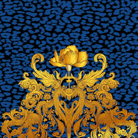 Baroque golden seamless pattern over leopard or cheetah skin titled background, fancy animal fur and glamorous elements, vector illustration. Illustration