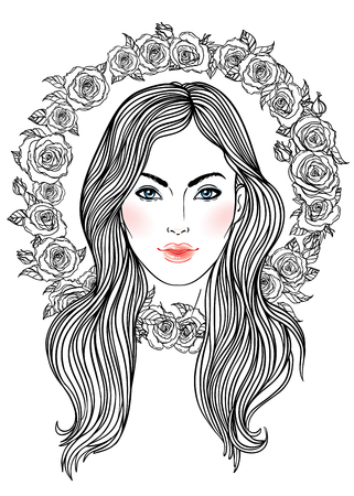 female girl: Pretty girl with crown of roses flowers in her hair. Female portrait or summer fairy or nymph. Vector isolated illustration. Fantasy, beauty, boho style, coloring books.
