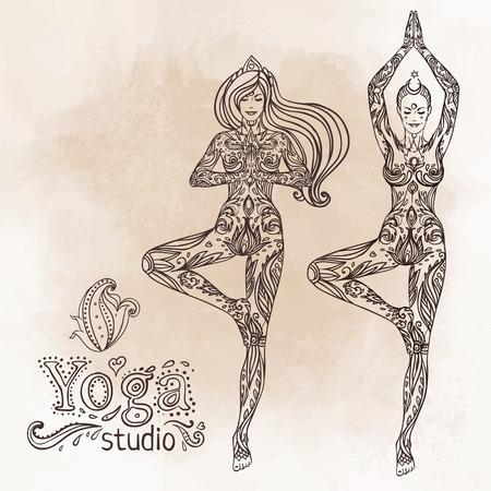 kundalini: Young pretty girl doing yoga. Vrikshasana: tree posture, Hand drawn vintage vector illustration over sacred geometry background. Mehenidi ornate decorative style. Yoga studio concept. Hindu motifs.
