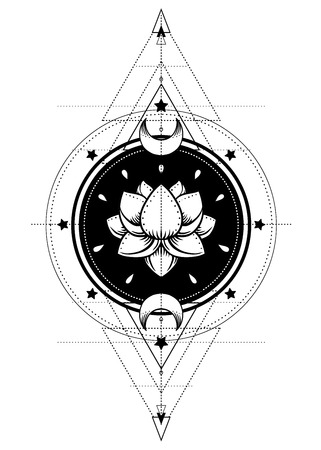 tantra: Lotus and Sacred Geometry. Ayurveda symbol of harmony and balance, and universe. Tattoo flesh design, yoga logo. Boho print, poster, t-shirt textile. Anti stress book. Isolated vector illustration. Illustration