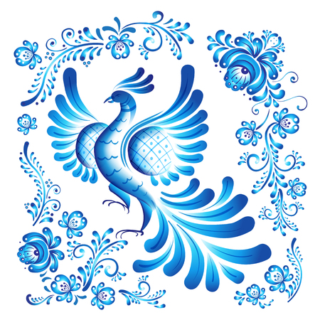 Bird of happiness on the branch with leaves, swirls and flowers. Gzhel (Russian traditional painted floral pattern) inspired detailed isolated vector illustration. Print, poster, t-shirt, textile.