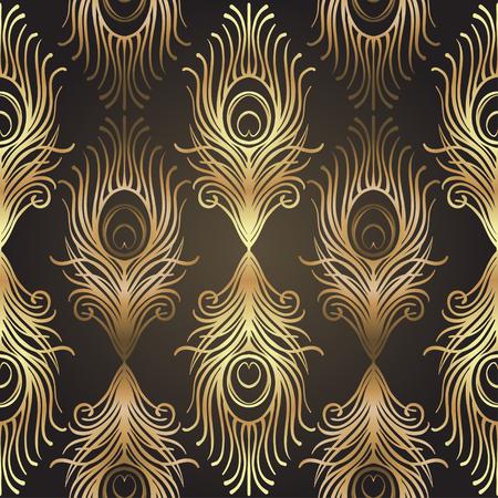Art Deco Stil geometrische nahtlose Muster in schwarz und gold. Vektor-Illustration. Roaring 1920's Design. Jazz-Ära inspiriert. 20er Jahre. Vintage Stoff, Textil, Geschenkpapier, Tapeten. Retro Hand gezeichnet. Standard-Bild - 87434591