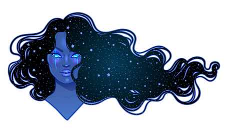 Dark magic. Mysterious girl with galaxy make up and with the sky full of stars in her hair. Art nouveau inspired. Astrology, mysticism concept. Vibrant colors. Vector zodiac illustration over black. Illustration