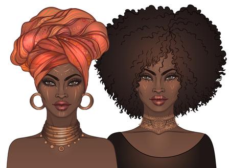 Dos chicas guapas afroamericanas con labios brillantes. Ilustración de vector de mujer negra. Afro y turbante Ideal para avatares. Ilustración aislada en blanco. Ilustración de vector