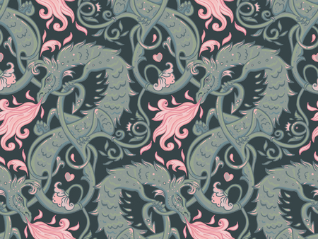 Mythological magic beast Basilisk, legendary bizarre creature. Seamless pattern design in medieval style. Dragon, burning flame. Repetition background. Wrapping paper, wallpapers. Vector illustration.