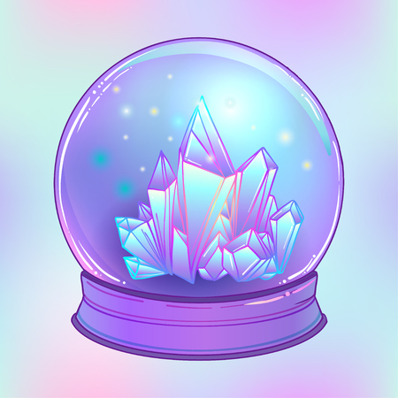 healing: Crystal Ball with with crystals gems inside. Creepy cute vector illustration. Gothic design, mystic magic symbol, pastel colors. Future telling, Halloween concept. Pastel goth colors.