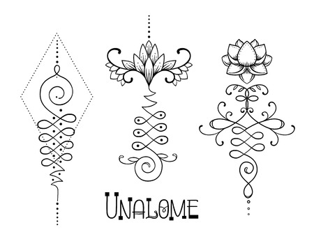 healing: Lotus and Sacred Geometry. Unamole hindu symbol of wisdom and path to perfection. Set of tattoo flesh, yoga logo, Buddhism design. Boho print, poster, t-shirt textile. Isolated vector illustration set