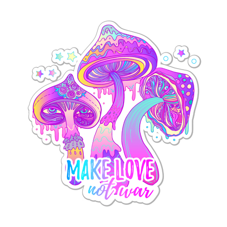Magic mushrooms. Psychedelic hallucination. Vibrant vector illustration. 60s hippie colorful art in pink pastel goth colors isolated on white. Sticker, patch, poster graphic design. Illustration