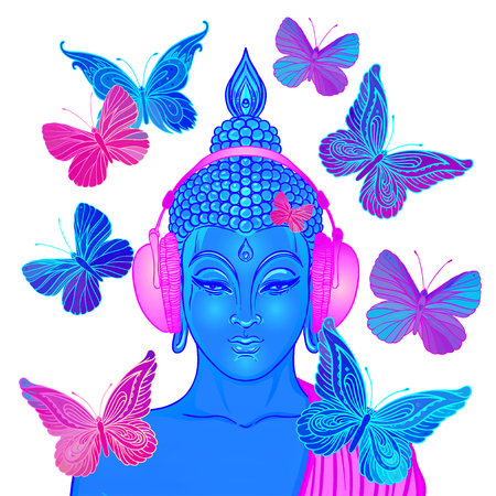 Groove. Modern Buddha listening to the music in headphones surrounded by butterflies isolated on white. Vector illustration. Acid psychedelic concept. Buddhism, trance music. Tattoo, yoga, spiritual. Ilustração