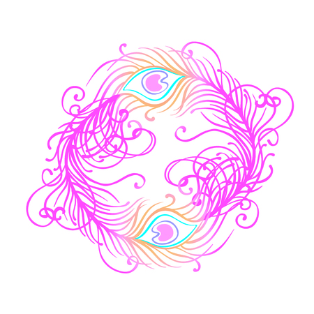 plume: Vector illustration of beautiful peacock feather set isolated on a white background. Trendy hipster background, logotype, tattoo design element. Colorful gradient. Isolated vector illustration.