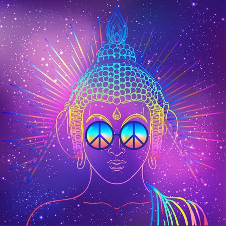 Paix et amour. Bouddha coloré dans des verres arc-en-ciel en écoutant de la musique dans les écouteurs. Illustration vectorielle Hippie signe de paix sur les lunettes de soleil. Concept psychédélique. Bouddhisme, musique de transe. Art ésotérique
