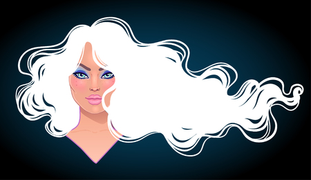 Portrait of pretty young woman with long curly trendy white hair flowing in the wind. Hair salon concept. vector illustration isolated. Portrait of a young Caucasian woman. Glamour Fashion concept.