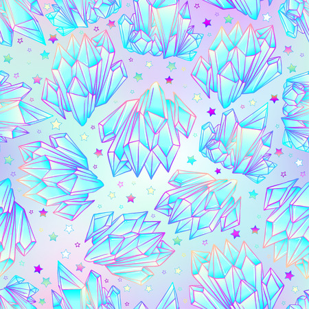 healing: Hand drawn crystal gem seamless pattern. Geometric shiny gemstone symbol. Trendy hipster background, fabric design, fashiontextiles. Colorful gradient. Isolated vector illustration. Pastel goth style Illustration