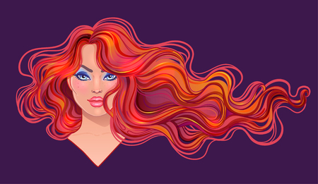 Beautiful redhead woman with long wavy hair flowing in the wind. Hair salon concept. vector illustration isolated. Portrait of a young Caucasian woman. Glamour Fashion concept.
