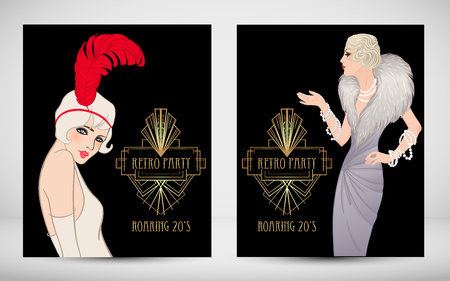 Art Deco vintage invitation template design with illustration of flapper girl. patterns and frames. Retro party background set (1920's style). Vector for glamour event, thematic wedding or jazz party. Vectores
