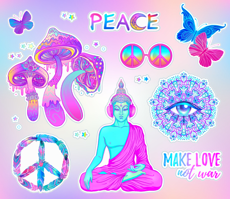 Psychedelic sticker set: trippy mushrooms, peace sign acid Buddha, butterflies, all-seeing eye mandala. Patch badges with stoned trippy drug elements in cartoon comic style. Pop art patches, pins. Illustration