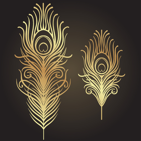 Set of two isolated feathers. Retro hand drawn vector illustration. Art deco style. Vector. Roaring 1920s design. Jazz era inspired . 20s. Vintage Temporary tattoo design, textile, t-shirt print. Иллюстрация