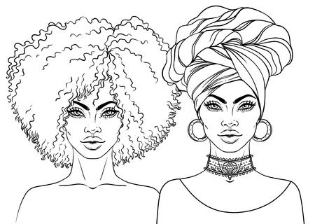 Niña bonita afroamericana Ilustración vectorial de mujer negra con peinado afro y turbante. Ideal para los avatares. Ilustración aislada en blanco. Libro para colorear para adultos.