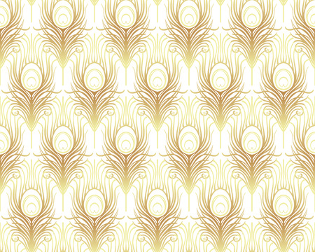 Art deco style geometric seamless pattern in black and gold. Vector illustration. Roaring 1920's design. Jazz era inspired . 20's. Vintage Fabric, textile, wrapping paper, wallpaper. Retro hand drawn. Illustration