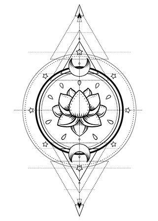 Lotus and Sacred Geometry. Ayurveda symbol of harmony and balance, and universe. Tattoo flesh design, yoga logo. Boho print, poster, t-shirt textile. Anti stress book. Isolated vector illustration.  イラスト・ベクター素材