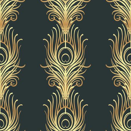 아트 데코 스타일 기하학적 원활한 패턴 검정과 금색. 벡터 일러스트 레이 션. 1920 년대의 디자인을 떠올리게합니다. 재즈 시대가 영감을 받았습니다. 2