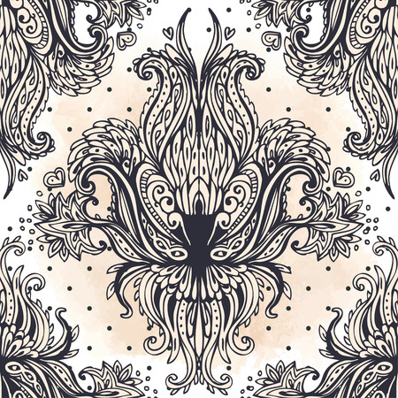 victorian wallpaper: Vintage baroque floral seamless pattern in gold over white. Ornate vector decoration. Luxury, royal and Victorian concept.