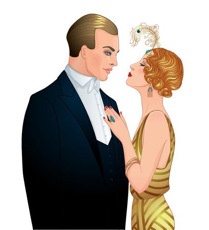 アールデコ様式の美しいカップル。レトロファッション: グラマー男性と20代の女性。ベクターイラスト。フラッパー20のスタイル。ヴィンテージパ
