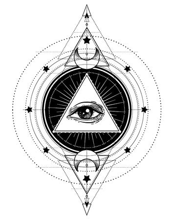 Czarny tatuaż flash. Oko Opatrzności. Symbol masoński. Wszystkie widzące oko wewnątrz piramidy trójkąta. Nowy porządek Świata. Święta geometria, religia, duchowość, okultyzm. Ilustracja na białym tle wektor. Ilustracje wektorowe