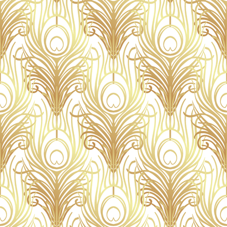 Art deco style geometric seamless pattern in black and gold. Vector illustration. Roaring 1920's design. Jazz era inspired . 20's. Vintage Fabric, textile, wrapping paper, wallpaper. Retro hand drawn. Иллюстрация