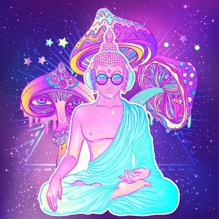 Peace and Love. Colorful Buddha in rainbow glasses listening to music in headphones. Vector illustration. Hippie peace sign on sunglasses. Psychedelic mushrooms. Buddhism, trance music. Esoteric art