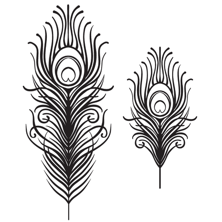 Set of two isolated feathers. Retro hand drawn vector illustration. Art deco style. Vector. Roaring 1920's design. Jazz era inspired . 20's. Vintage Temporary tattoo design, textile, t-shirt print. 免版税图像 - 87434687