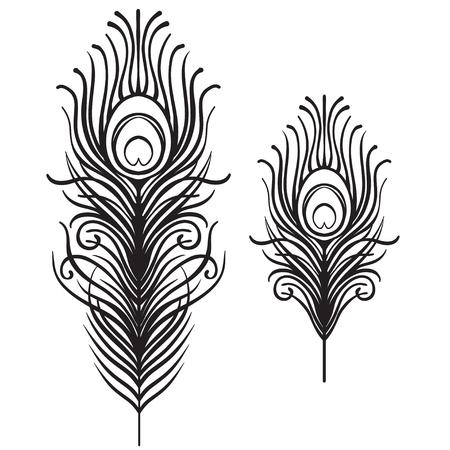 Set van twee geïsoleerde veren. Retro hand getrokken vectorillustratie. Art deco-stijl. Vector. Roaring 1920's ontwerp. Jazz-tijdperk geïnspireerd. 20's. Vintage tijdelijke tattoo ontwerp, textiel, t-shirt print.
