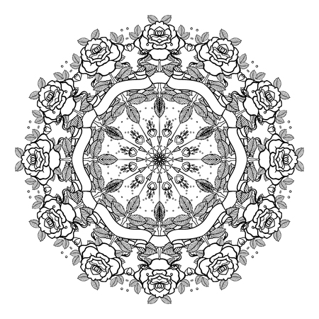 rose tattoo: Tattoo old school style mandala. Vector illustration isolated. Linework Traditional Tattooing Style design, with rose, classic symbol. Print, poster, t-shirt and textile. Valentine vintage composition Illustration