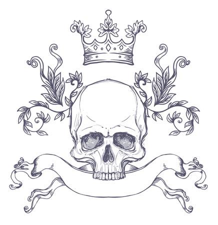 頭蓋骨とゴシックの紋章付き外衣。ヴィンテージのラベルです。レトロなベクター デザイン グラフィック要素。手描きの線画。ビクトリア朝のタトゥーのテンプレートです。ベクトル図では、デザイン要素を分離します。白い背景。 写真素材 - 87434690
